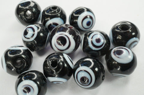 Black Turkish Evil Eye Murano Glass Bead 10mm, Jewelry Finding, Pack of 12 Pieces