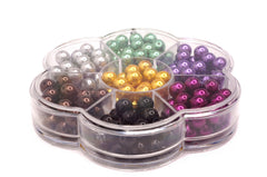 Jewelry Making Color Glass Pearl Pearlescent Beads Box Set B, 8mm Round, 168 Pcs