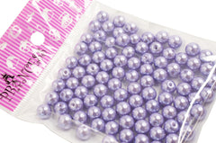 Jewelry Color Glass Pearl Pearlescent Beads, 8mm Round, 1mm Hole, Lavender, 100pcs