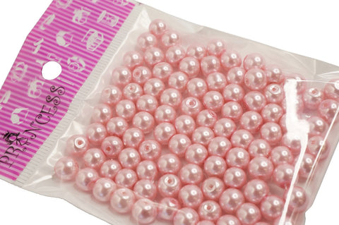 Jewelry Color Glass Pearl Pearlescent Beads, 8mm Round, 1mm Hole, Pink, 100pcs