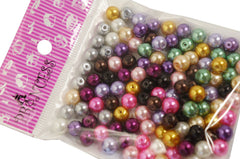 Jewelry Making Color Glass Pearl Pearlescent Beads, 8mm Round, 1mm Hole, 100pcs