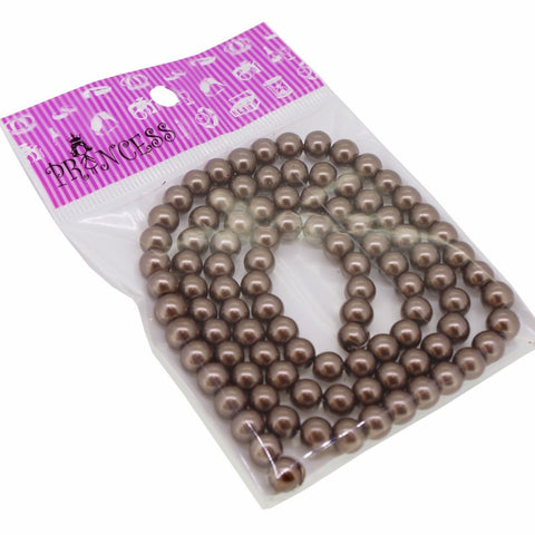 Jewelry Color Glass Pearl Pearlescent Beads, 8mm Round, 1mm Hole, Dark Gray, 100pcs