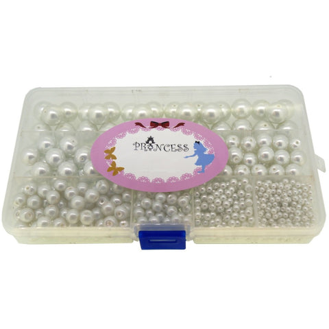 Glass Pearl  Beads for Jewelry Making, Round, White Colors, Mixed Size, Box Set, Bulk Lot