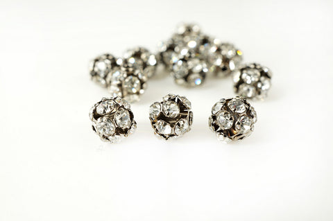 Ball Metal Bead Rhinestone Clear Crystal Gunmetal-Finished Brass , 6mm, Pack of 12