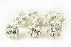 Silver Plated Rhinestone Ball Metal Bead Clear Crystal, 8mm, Pack of 12
