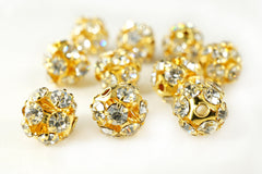 Gold Plated Rhinestone Ball Metal Bead Clear Crystal, 8mm, Pack of 12