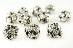 Ball Metal Bead Rhinestone Clear Crystal Gunmetal-Finished Brass ,8mm, Pack of 12