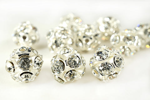 Silver Plated Rhinestone Ball Metal Bead Clear Crystal, 10mm, Pack of 12