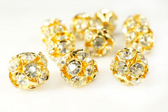 Gold Plated Rhinestone Ball Metal Bead Clear Crystal, 10mm, Pack of 12