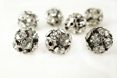 Ball Metal Bead Rhinestone Clear Crystal Gunmetal-Finished Brass , 10mm, Pack of 12