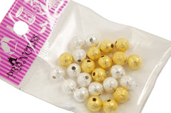 Jewelry Making Silver Gold Color Stardust Beads Brass 8mm Round hole 1.5mm 24pcs