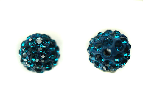 Blue Zircon Color Crystal Shamballa Beads Pave Disco balls n Spacer Jewelry Supplies