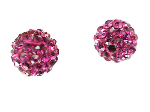 Fuchsia Color Crystal Shamballa Beads Pave Disco balls n Spacer Jewelry Supplies