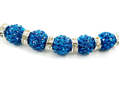 Capri Blue Color Crystal Shamballa Beads Pave Disco balls n Spacer Jewelry Supplies