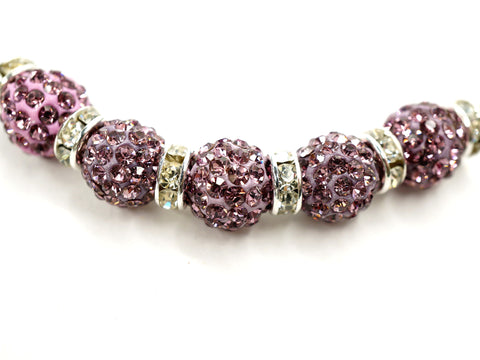 Light Amethyst Color Crystal Shamballa Beads Pave Disco balls n Spacer Jewelry Supplies