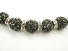 Black Diamond Color Crystal Shamballa Beads Pave Disco balls n Spacer Jewelry Supplies