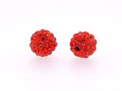 Orange Red Color Crystal Shamballa Beads Pave Disco balls n Spacer Jewelry Supplies
