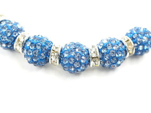 Clear Crystal Shamballa Beads Pave Disco Blue Balls N Spacer Jewelry Supplies Kit