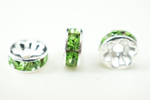 Spacer Bead 8mm Rondelle Silver Plated - Peridot Crystal, Pack of 12