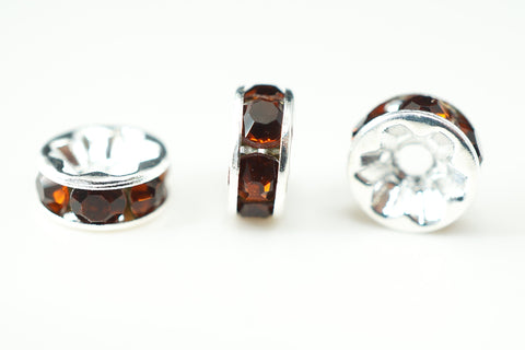 Spacer Bead 8mm Rondelle Silver Plated - Smoked Topaz Crystal, Pack of 12