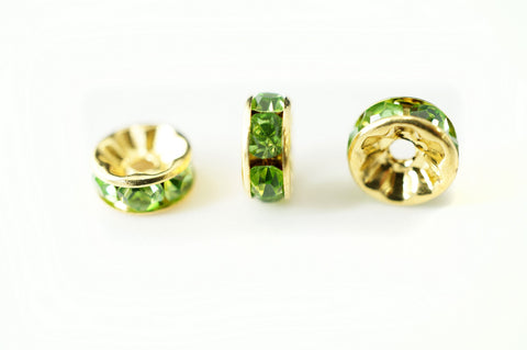 Spacer Bead 8mm Rondelle Gold Plated - Peridot Green Crystal, Pack of 12
