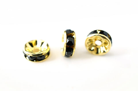 Spacer Bead 8mm Rondelle Gold Plated - Black Jet Crystal, Pack of 12