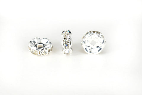Spacer Bead w Rhinestones 8mm Rondelles Silver Plated - Clear Whte Crystal , Pack of 12