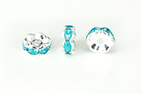 Spacer Bead w Rhinestones 8mm Rondelles Silver Plated - Blue Zircon , Pack of 12