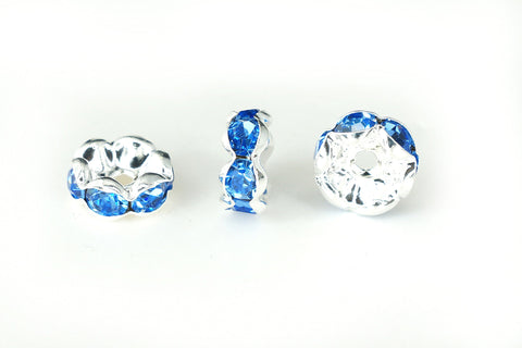 Spacer Bead w Rhinestones 8mm Rondelles Silver Plated - Light Sapphire Blue , Pack of 12