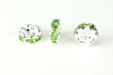 Spacer Bead w Rhinestones 8mm Rondelles Silver Plated - Peridot Green , Pack of 12