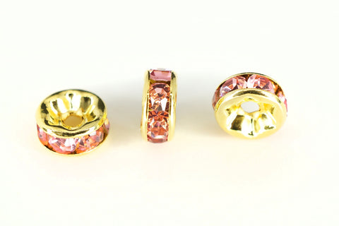 Spacer Bead 6mm Rondelle Gold Plated - Light Rose Pink Crystal, Pack of 12