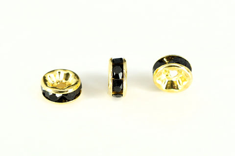 Spacer Bead 6mm Rondelle Gold Plated - Black Jet Crystal, Pack of 12
