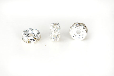 Spacer Bead w Rhinestones 6mm Rondelles Silver Plated - Clear Whte Crystal , Pack of 12