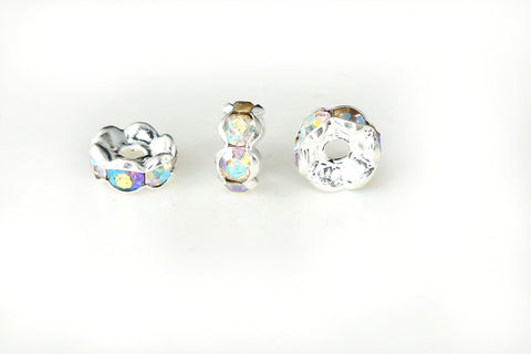 Spacer Bead w Rhinestones 6mm Rondelles Silver Plated - AB Whte Crystal , Pack of 12