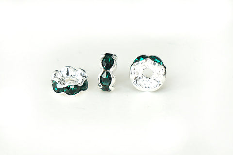 Spacer Bead w Rhinestones 6mm Rondelles Silver Plated - Emerald Green , Pack of 12