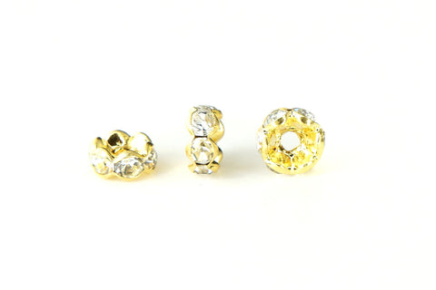 Spacer Bead w Rhinestones 6mm Rondelles Gold Plated - Clear Whte Crystal , Pack of 12