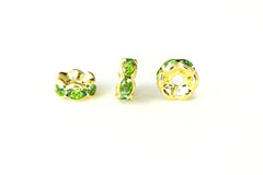 Spacer Bead w Rhinestones 6mm Rondelles Gold Plated - Peridot Green , Pack of 12