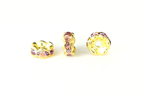 Spacer Bead w Rhinestones 6mm Rondelles Gold Plated - Light Rose Pink , Pack of 12