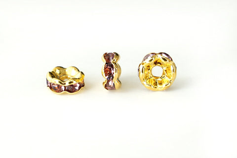 Spacer Bead w Rhinestones 6mm Rondelles Gold Plated - Light Amethyst Purple , Pack of 12