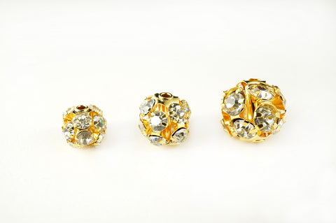 Gold Plated Rhinestone Ball Metal Bead Clear Crystal, Pack of 36, 6 8 10mm