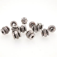Rondelle Tibetan Style Spacer Beads for Jewerly Bracelet Necklace Charm Making, 5mm, Antique Silver, Pack of 50