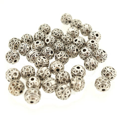 Alloy Beads, Lead Free & Nicke Free & Cadmium Free, Round, Antique Silver, 8mm, Hole: 1mm