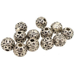 Ball Alloy Beads for Jewelry Bracelet Necklace Charm Making, Round, 8mm Round Antique Silver, Pack of 50