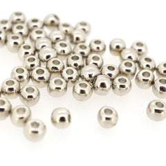 4mm Round Alloy Spacer Beads for Jewelry Braclet Necklace Earrings Charm Making, Platinum Color, Pack of 100