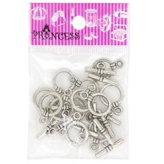 Alloy Bar & Ring Toggle Clasps, Donut, Antique Silver Color, Size: Toggle: about 14.5mm wide, 20mm long, 3.5mm thick, hole: 2.5mm; Tbars: 8mm wide, 18.5mm long, 3.5mm thick, hole: 25mm.