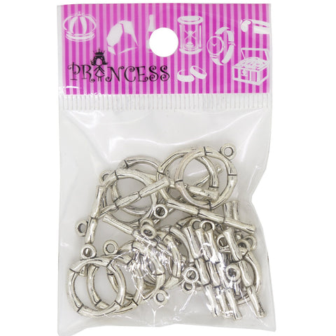 Alloy Bar & Ring Toggle Clasps, Lead Free and Cadmium Free, Antique Silver Color, Size: Toggle: about 20.5x17mm, Hole: 2mm, Tbar: 26x6x3mm, Hole: 2mm