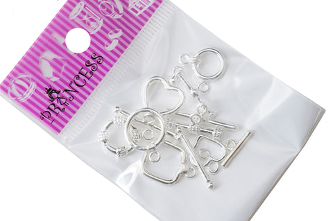 Clasp, Bar n Ring Toggle, Silver Plated, Pack of 6 Mix Design