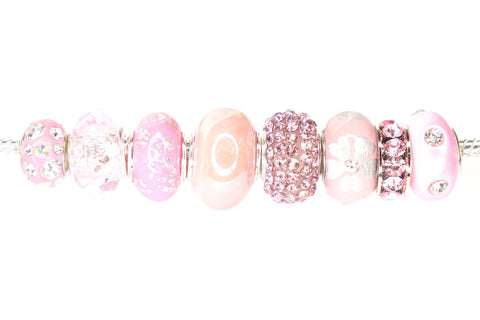Color Set Mix European Bead Charm Crystal Fit Pandora Pack of 8 (Pink)