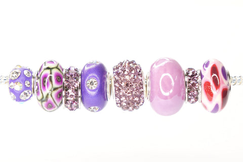 Color Set Mix European Bead Charm Crystal Fit Pandora Pack of 8 (Purple)