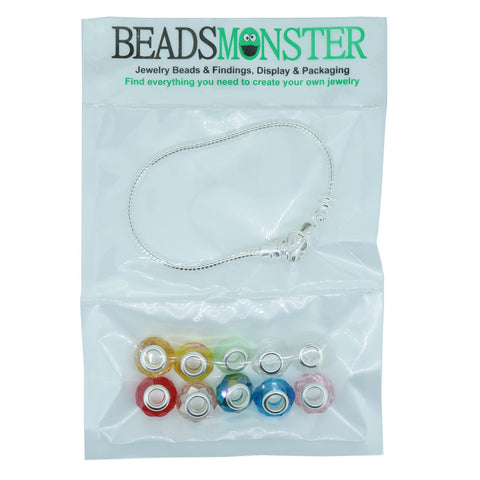 Pack of 10 Color Glass European Beads Charm Large Hole Beads with snake chain